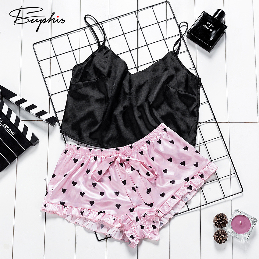 Suphis Sexy Black Crop Top And Pink Frill Shorts Pj Set Lovely Heart Print Women Sleepwear Satin Cami Summer Silk Pajamas Ladies