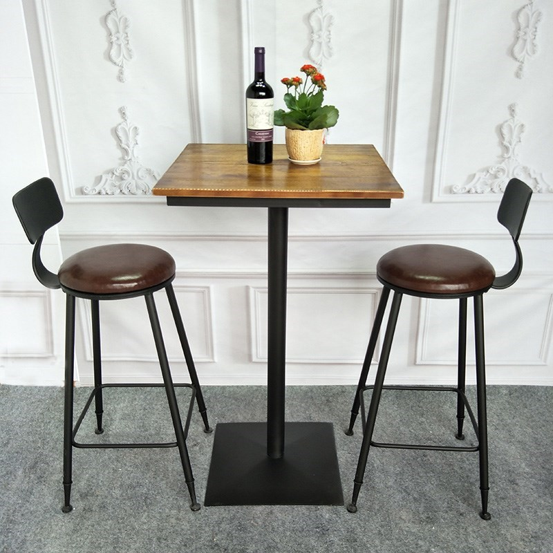 Iron Solid Wood Bar Chair High Chair Bar Tables And Chairs Round Stool HomeAmerican Simple Leisure Round Table Long Square Table