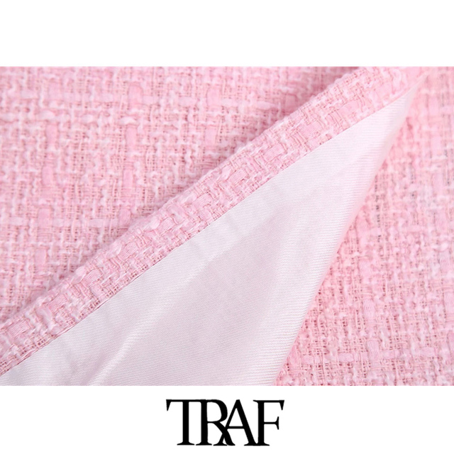 TRAF Women Chic Fashion Tweed Shorts Skirts Vintage High Waist Back Zipper Female Skort Mujer 5