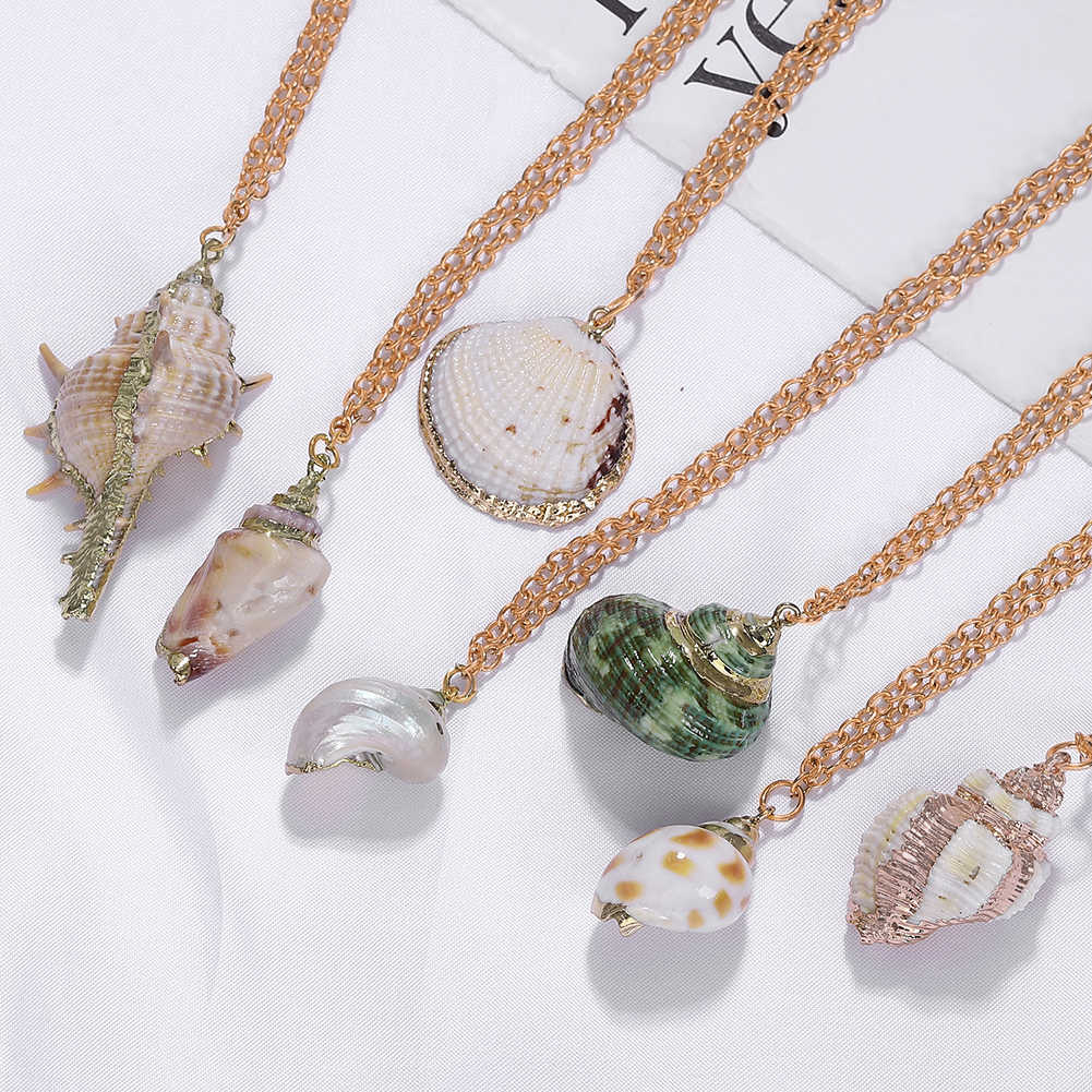 Girlgo Boho Conch Shells Necklaces For Women Maxi Chains Seashell Pendant Necklaces Charm Bohemia Trendy Link Necklace Bijoux
