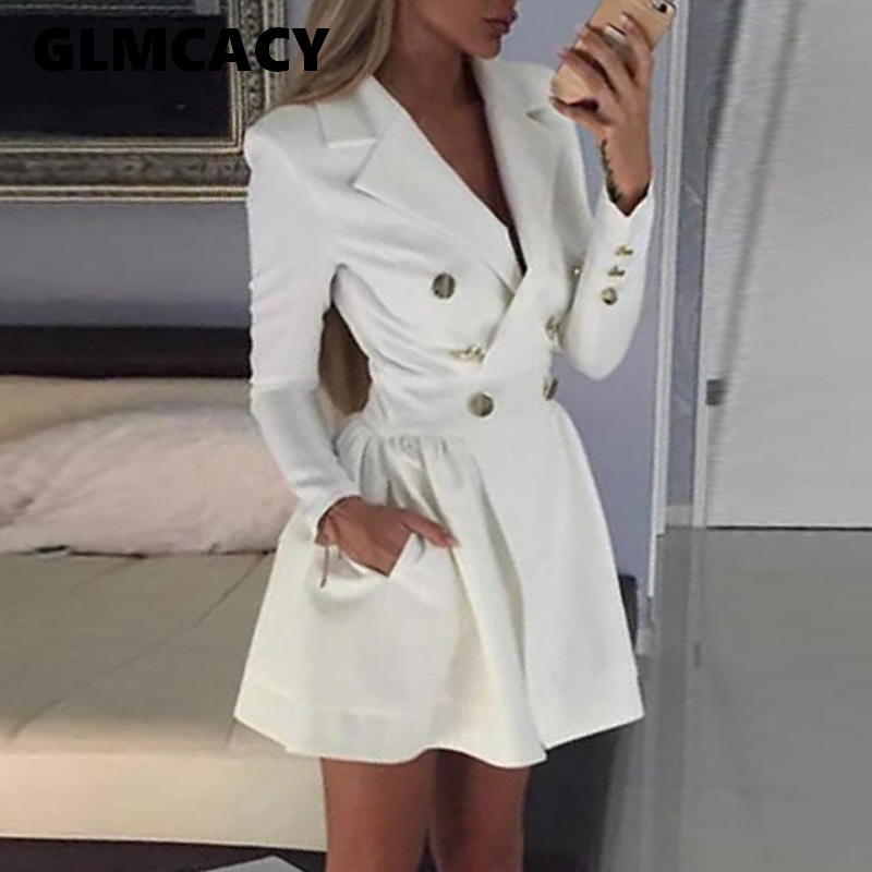 Women OL Sexy Notched Lapel White Double Breasted Blazer Dress Elegant Short Mini Dress Office Lady Blazer Dresses Chic Vestidos