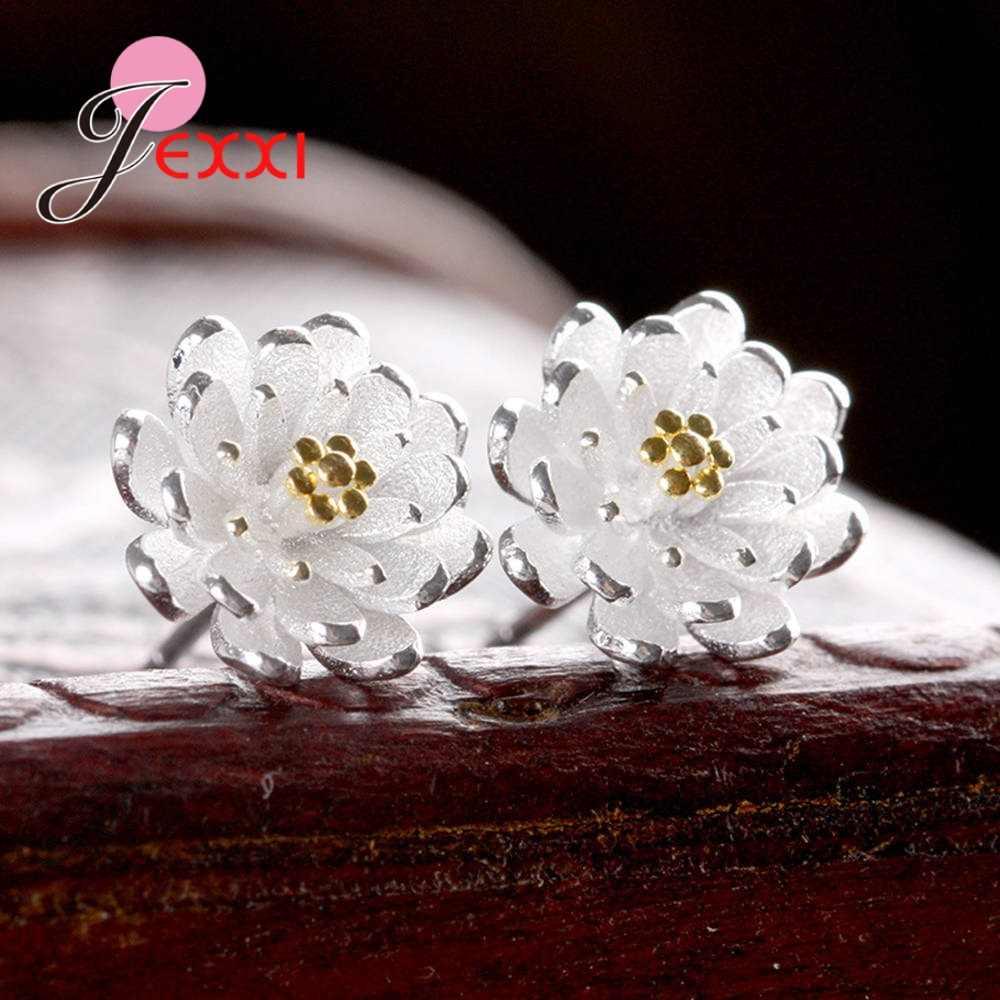 Boutique ผู้หญิง 925 เงินสเตอร์ลิงโลตัสดอกไม้ต่างหูเจาะเกาหลีกระดูกอ่อนหูแหวนงานแต่งงานเครื่องประดับ