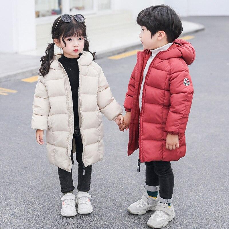 casaco longo para baixo das criancas estilo de algodao para baixo parka outwear algodao das meninas