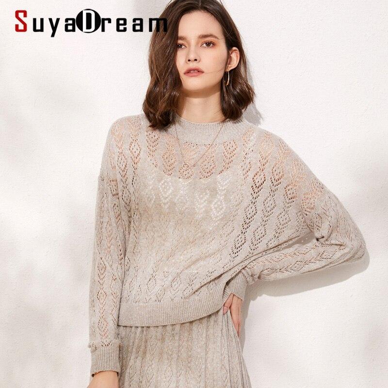 SuyaDream O cou évider pulls 100% laine femmes mode solide chandails 2019 automne vêtement tricoté d'hiver