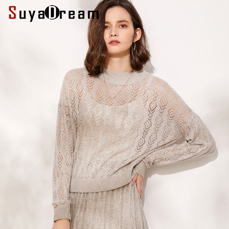 SuyaDream O Neck Hollow Out Pullovers 100%Wool Women Fashion Solid Sweaters 2019 Autumn Winter Knitwear