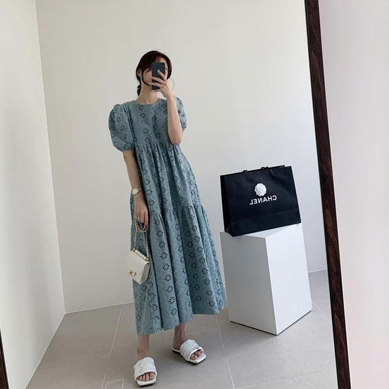 Summer 2021 Women High Waist Maxi Long White  Dress Korean Japan Fashion Casual Elegant Lace Hollow Floral Short Sleeve Prom