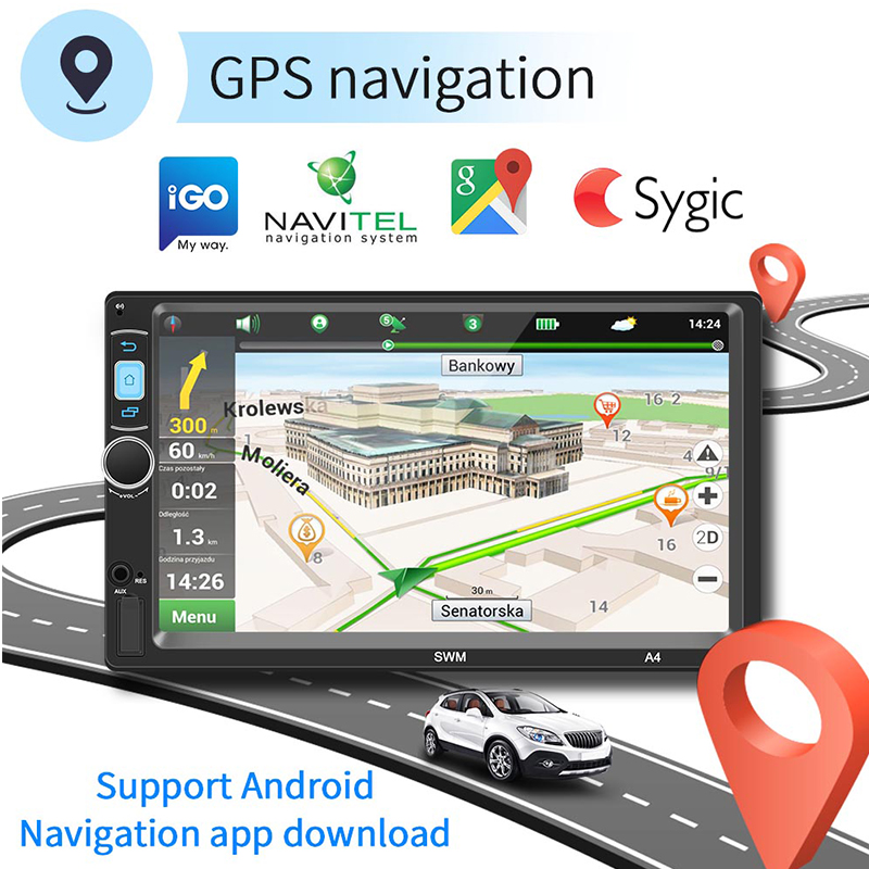 7 Inch HD Touch Screen Capacitance Screen Car MP5 Player Audio Mobile Phone Connected Android GPS Navigation Integrated Host