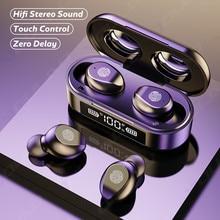 TWS słuchawki bezprzewodowe z Bluetooth sportowe wodoodporne słuchawki douszne Bluetooth 5.0 słuchawka z mikrofonem sterowanie dotykowe 9D zestaw słuchawkowy hi-fi