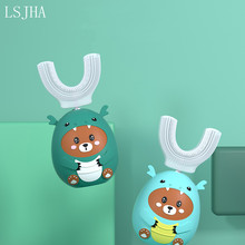LSJHA Children's U-shaped Electric Toothbrush Cartoon Pattern 360 Degree Oral Care Cleaning Bacteria Replaceable Toothbrush Head