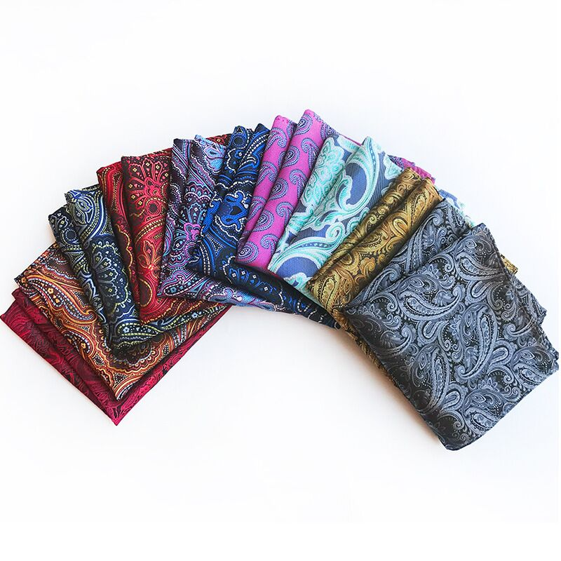 New25*25CM  Designer Pocket Square Fashion Handkerchief Dot Paisley Floral Plaid Style Mens Suit Pocket Accessories Gift Ties Ma