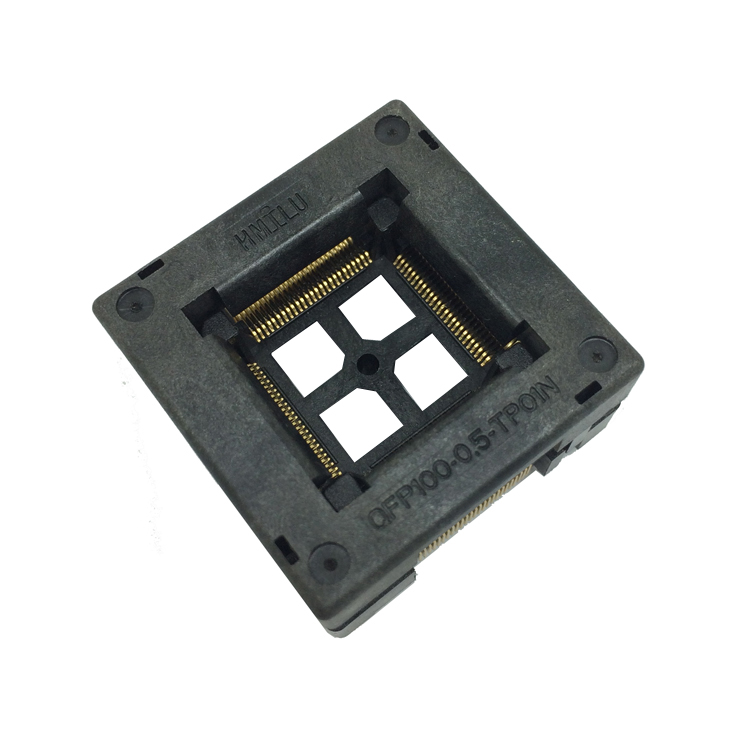 TQFP100 FQFP100 LQFP100 Burn In Socket OTQ-100-0.5-09 Pin Pitch 0.5mm IC Body Size 14x14mm Open Top Test Adaptercket Adapter