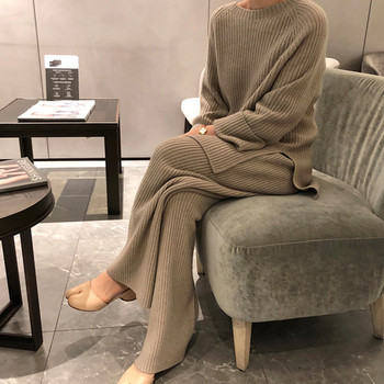2021 New Fashion Winter Women's Thicken Warm Knitted Pullover Sweater Two-Piece Suits +High Waist Loose Wide Leg Pants Set image