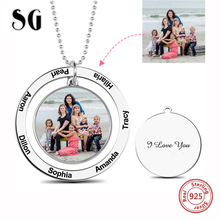 Personalized Necklace women 925 Sterling Silver Custom Color Photo Engraved Circle Suspensions Memorial Mom Gifts choker u7 100% 925 sterling silver heart shape engraved personalized custom photo pendant necklace mother s day gifts for lovers sc83