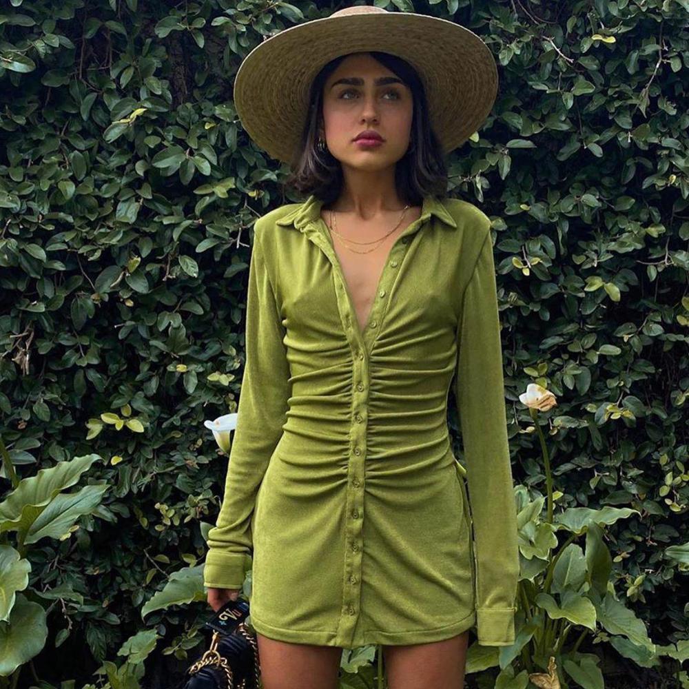 Kryptograficzny skręcić w dół kołnierz zielony kobiety koszula sukienki klub Party długi guzik na rękawie Mini sukienka wakacje 2021 wiosnny Streetwear