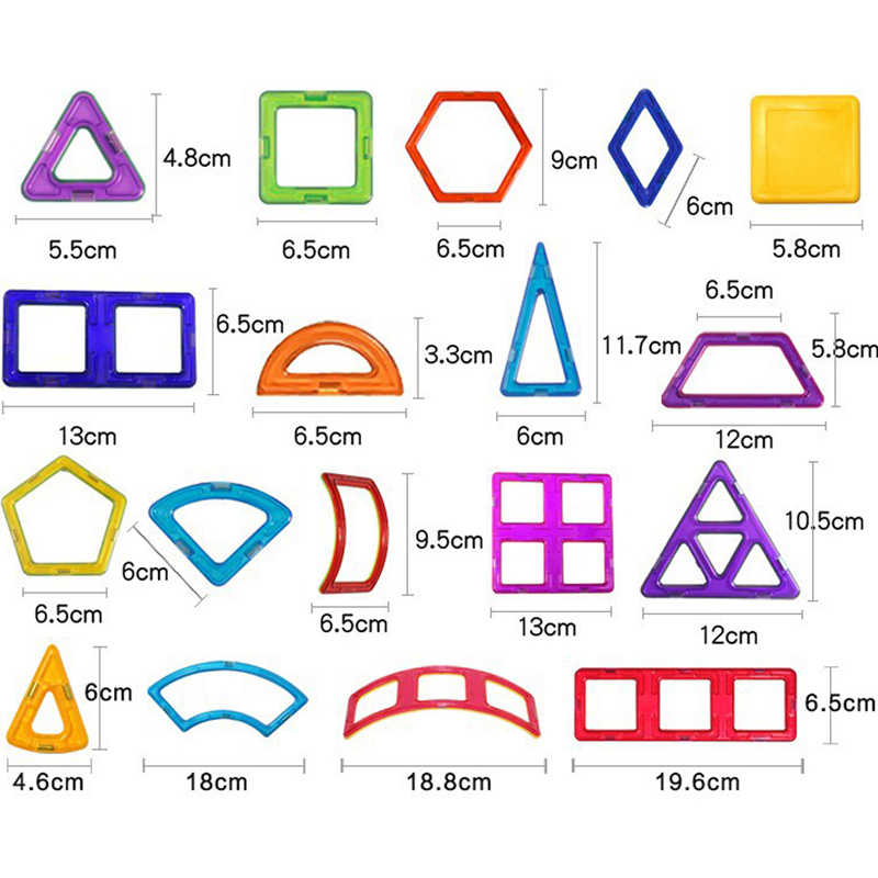 30 Pcs DIY Magnetik Konstruktor Segitiga Square Big Batu Bata Magnetic Blok Bangunan Desainer Set Magnet Mainan untuk Anak
