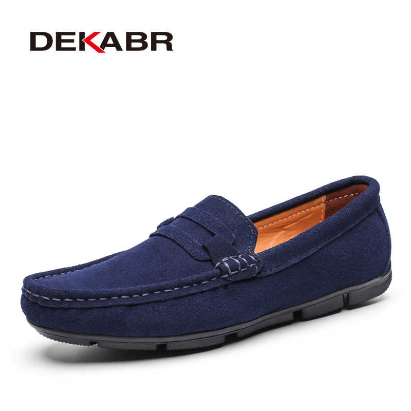 DEKABR Hot sale Brand Men Loafers Men's Casual Shoes Suede Leather Moccasins Breathable Slip on Boat Shoes Chaussures Hommes
