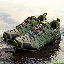 Zapatos impermeables de camuflaje verde para hombre, zapatillas de senderismo antideslizantes con cordones, ligeros, de marca de lujo