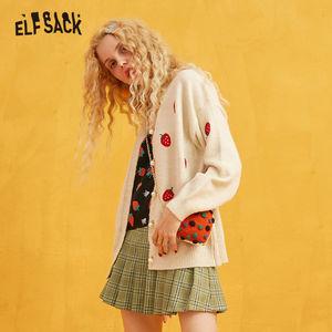 Image 3 - ELFSACK רקמת תות פנינת כפתור מזדמן קרדיגן, נשים 2019 סתיו ארוך שרוול זהב משי מתוק קוריאני סוודר
