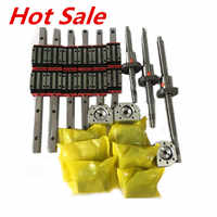 Envío gratis 3 ejes 4aixs 20mm rieles lineales HGR20 y 16mm tornillo de bola SFU1605/1610 set para enrutador CNC