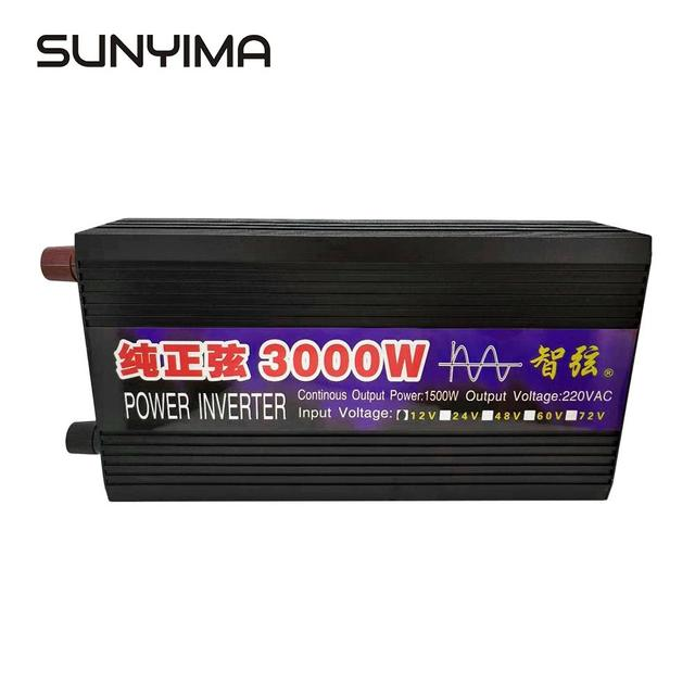 SUNYIMA 3000W 12V/24V To 220V Pure Sine Wave Car Power Inverter Power Conversion Booster Double Digital Display For Household