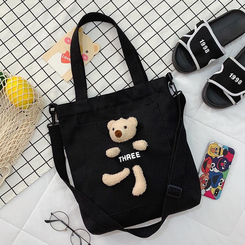 Fashion Korean Style Women Girls Canvas Shopping Handbag Big Capacity Shoulder Shopper Beach Bag Crossbody Bags for Women