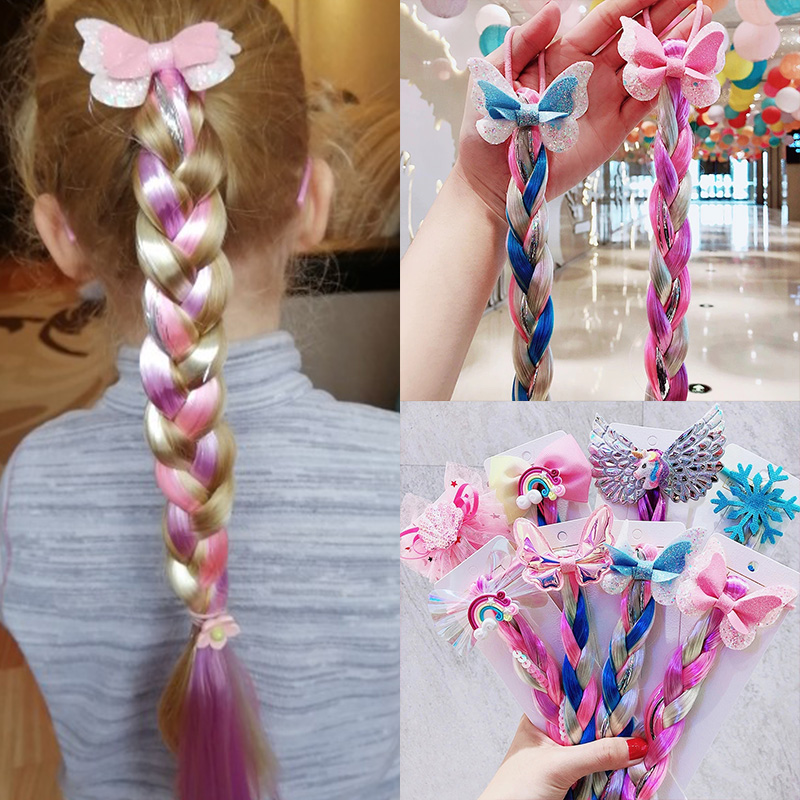 2021 New Girls Cute Cartoon Bow Butterfly Colorful Braid Headband Kids Ponytail Holder Rubber Bands Fashion Hair Accessories