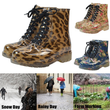 Women British Style Mid-Calf Boots Anti-slip Waterproof  Rain Shoes Winter Low Heel Lace Up Boot botas mujer invierno 2019 D25 цена