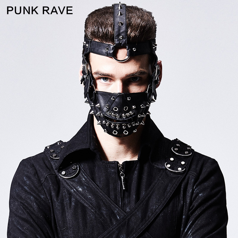 PUNK RAVE Men's PUNK Rivet Masks Personality Handsome Men Accessories
