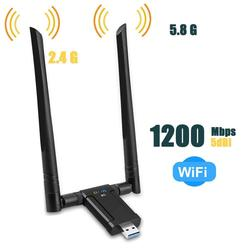 Wireless USB3.0 Network Card Lan 1200Mbps Dual Band 2.4G& 5G Wifi Receiver Adapter for PC With 2Pcs Antennas