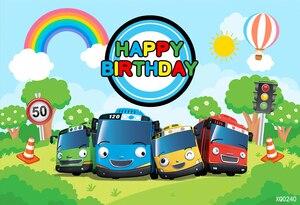 Image 2 - XQ0240 Cartoon Tayo Bus theme Newborn Kids 1st Birthday Party Backdrop For Boys Background For Photo Studio Photophone 220x150cm