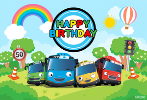 Image 2 - XQ0240 קריקטורה Tayo אוטובוס נושא יילוד ילדים 1st מסיבת יום הולדת רקע לבנים רקע תמונה סטודיו Photophone 220x150cm