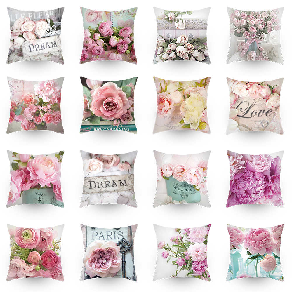 Pillow Covers 45*45 Showy And Colorful Polyester Cushion Cover  Roses Flower  Throw Pillow Car Home Decoration Decorative