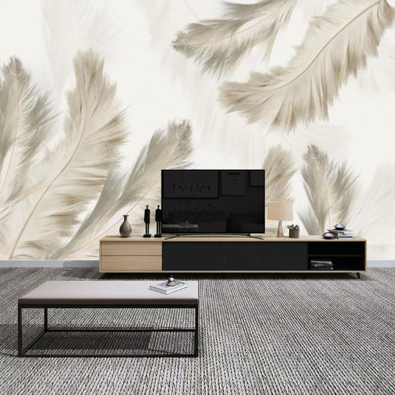 3D Modern Northern European-Style Abstract Hand-Painted Feather Customize The Murals Sofa TV Backdrop Wallpaper Wall Cloth