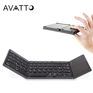 [AVATTO] B033 Portable Twice Folding Bluetooth Keyboard BT Wireless Foldable Touchpad Keypad for IOS/Android/Windows ipad Tablet(China)