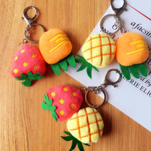 Cute Fruits Plush Pendant Key Chain Simulation Fruit and Vegetable Creative Gifts Small Toys Accessories keyring