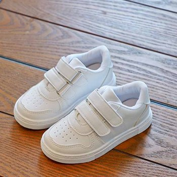 Kids Leather Shoes Baby Boys Girls Flat Shoes Breathable White Shoes Casual Board Shoes Soft Simple Design