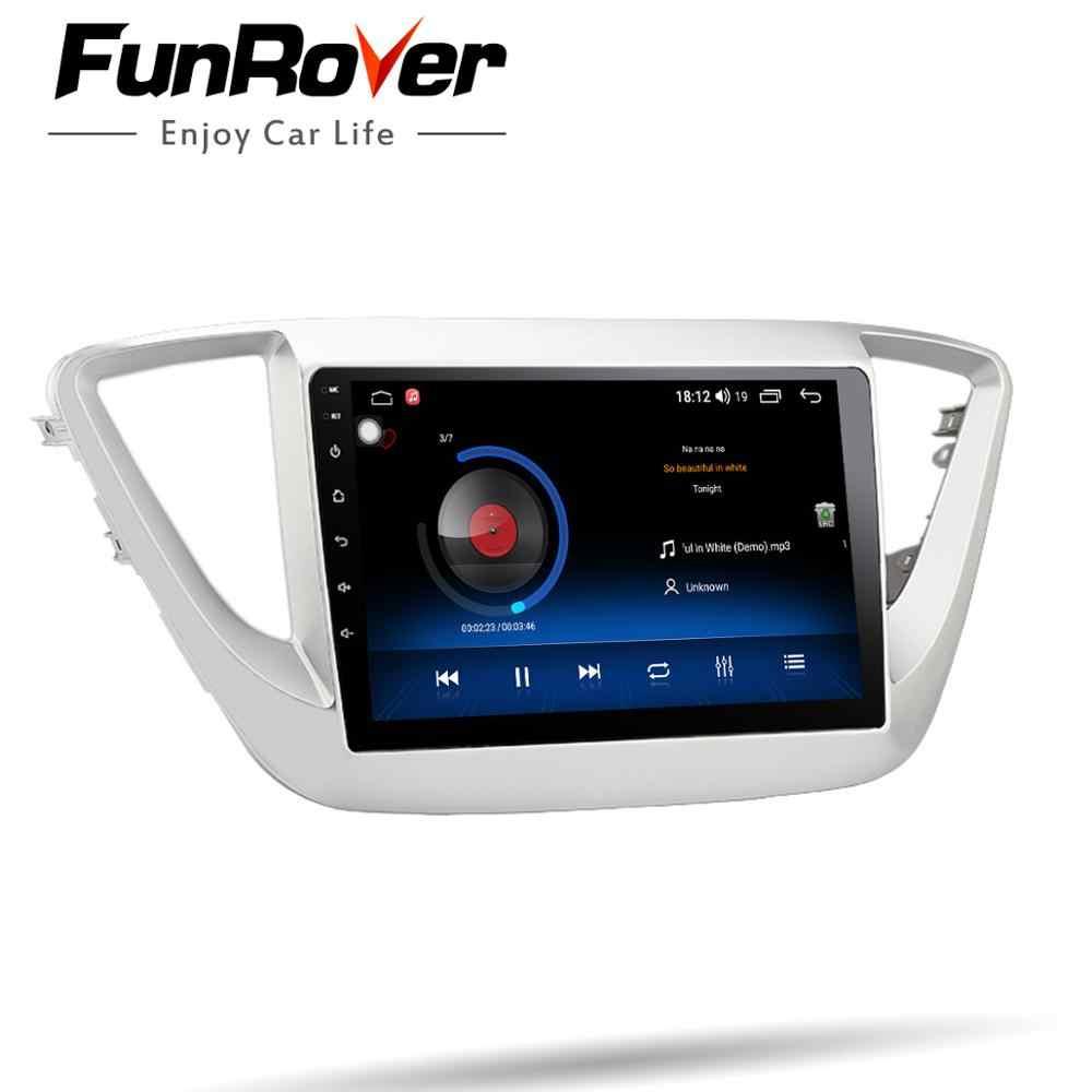 Funrover 2.5D ips hyundai solaris verna 2017 2018 アンドロイド 9.0 カーラジオマルチメディアプレーヤー autoradio ナビゲーション gps fm なし dvd