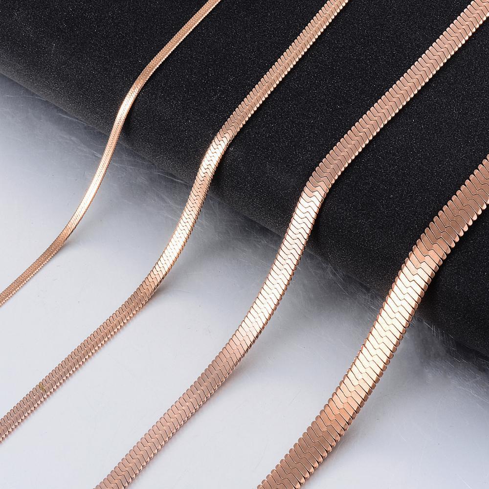 Женская змеиная цепочка из нержавеющей стали цвета розового золота, модные ювелирные украшения