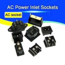 2 шт. IEC320 C8, черная 2 терминальная розетка питания, входная розетка переменного тока 250 в А, разъем питания переменного тока, медный сердечник, ...