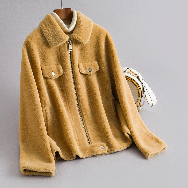 2020 Real Sheep Shearling Fur Coat Female 100% Wool Coats Winter Jacket Women Korean Short Jackets Chaqueta Mujer My4039