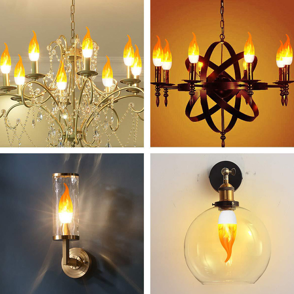 E12 E14 Flame Shape Adjustable Home Simulated Non Toxic Light Bulb Accessories Led Decoration Dimmable Atmosphere Lamp Rustproof