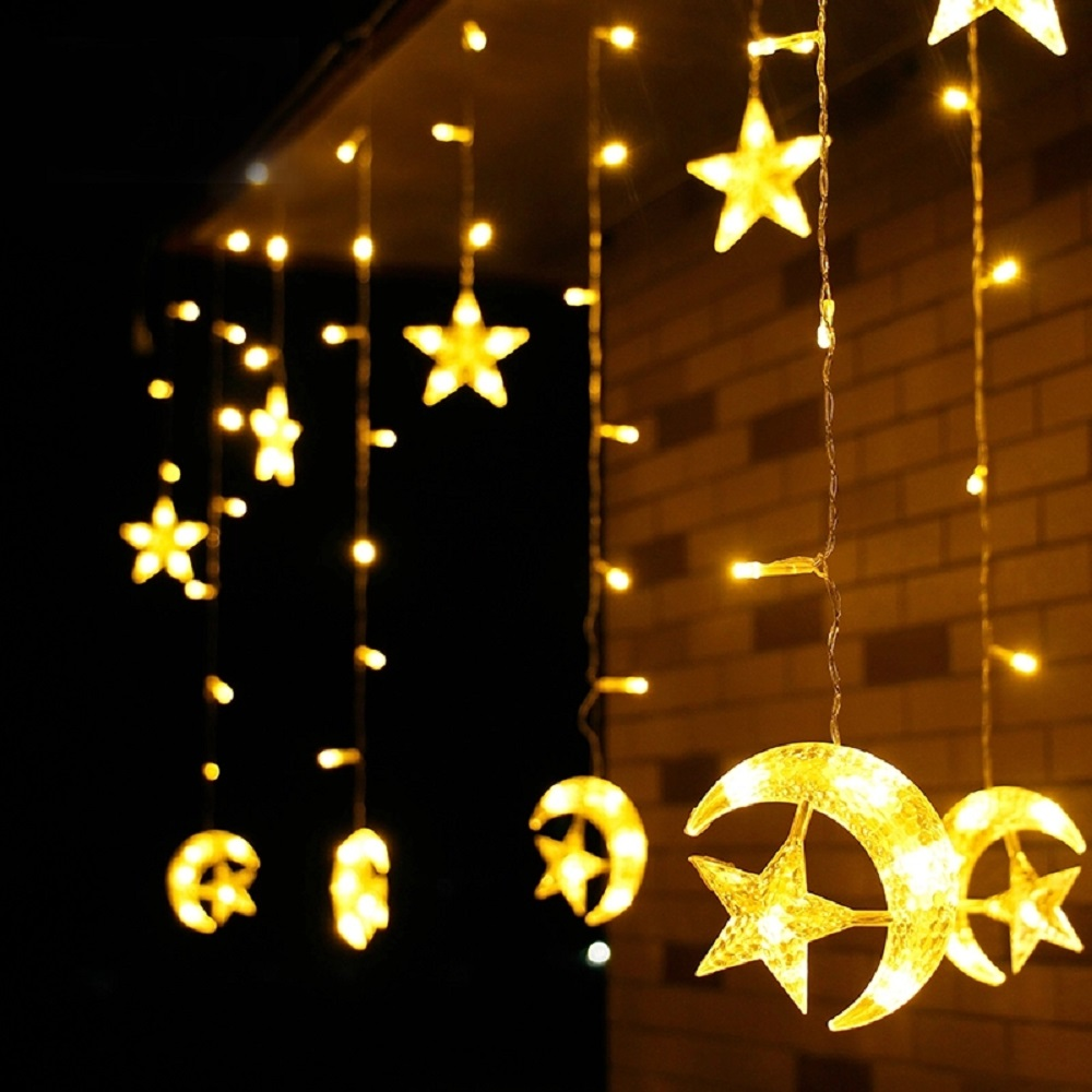 LED Moon Star Lamp Christmas Garland String Lights EU USB Neon Lantern Fairy Curtain Light For Wedding Holiday Decoration