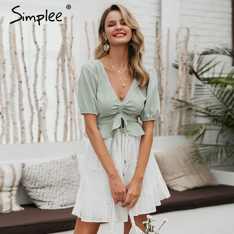 Simplee Vintage Sexy Beach Chiffon Crop Tops Women Blouse Shirts Lace Up Ruffles Puff Blouses Feminino Puff Casual Blusas Mujer