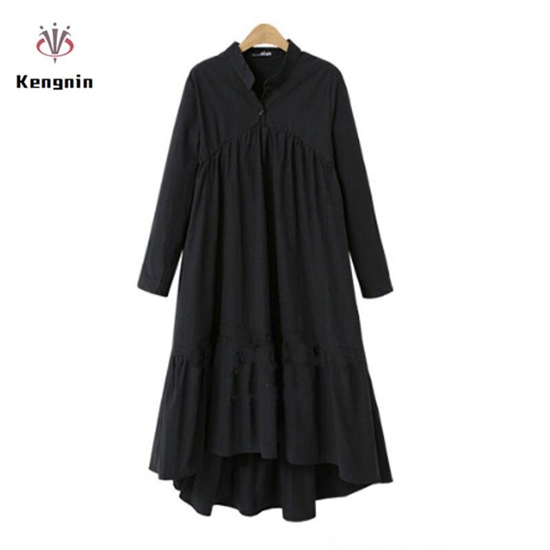 2019 automne grande taille 5XL femmes Robe Style européen à manches longues en lin coton Vestidos col montant lâche asymétrique OL Robe