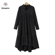 2020 outono plus size 5xl vestido feminino estilo europeu manga longa de linho algodão vestidos gola solta assimétrico ol robe