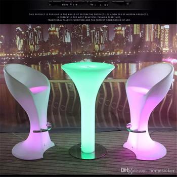 Darmowa wysyłka podświetlana dioda led krzesło barowe siedzisko wodoodporne z pilotem + Adapter 110 220V LED light up stołek barowy tanie i dobre opinie Nowoczesne Krzesło hotelowe Meble hotelowe Meble komercyjne Plastic