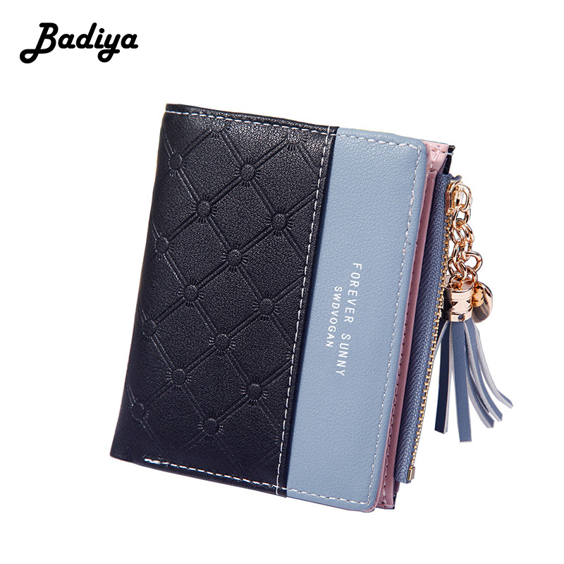 Brief Women Wallets Solid Color Personlity Tassel Heart Hasp Zipper Purse Multi-card Position Card Holder Short Lady Coin Purse