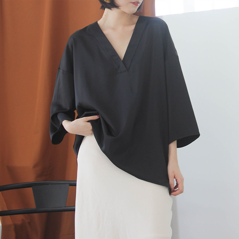 [EAM] Women Black Brief Asymmetrical Big Size Long T-shirt New V-Neck Long Sleeve  Fashion Tide  Spring Autumn 2020 JK987 2