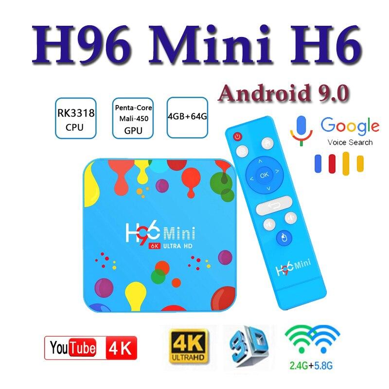 Best tv box android H96 Mini H6 4GB 128GB Android 9.0 smart 6K H.265 Wifi Google Media Player Bluetooth HD Set top Box