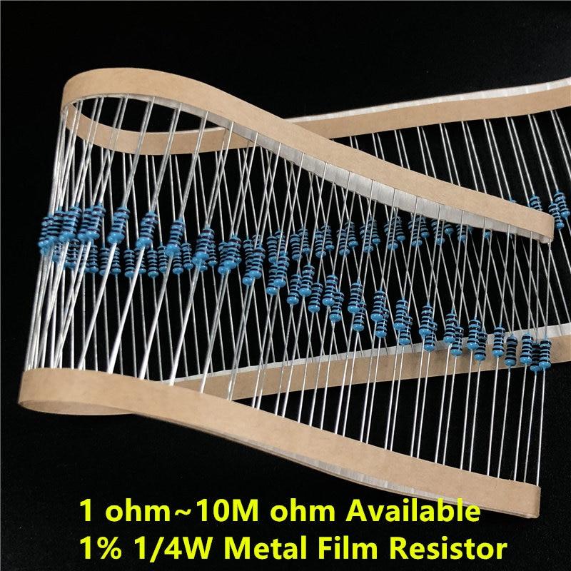 100 unids/lote (1 ~ 10M ohm disponible) resistencia de película metálica 1/4W 0,25 W 1% 1/10/100/1k/10k/100k/1M/4.7R/47R/470R/4,7 K/47K/470K/4,7 M